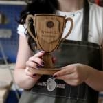 Наградные кубки награды из дерева от Feeling Wood для банка Открытие